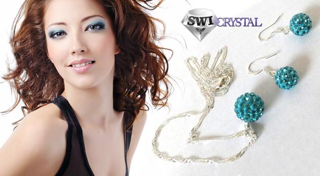 Fotka zľavy: Vkusný dvojdielny set šperkov so Swarovski elements len za 4,99€ pozostávajúci z náušníc a retiazky s príveskom v módnych 6 farebných prevedeniach.