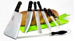 Zľava 40%: Sedemdielna sada prvotriednych nožov na rôzne druhy krájania vrátane sekáčika a ocieľky na brúsenie zo zdravotne nezávadnej a odolnej chirurgickej ocele len za 11,90 €.