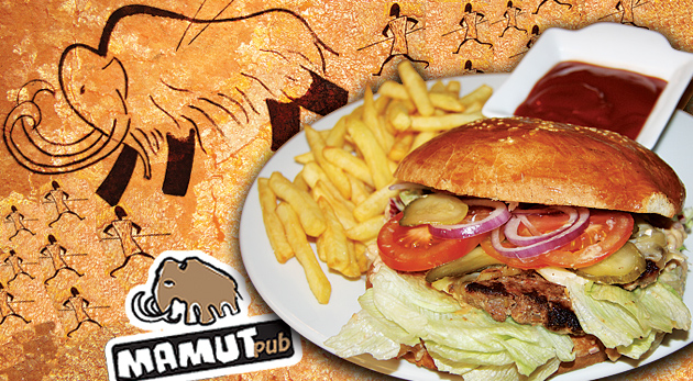 Fotka zľavy: Príďte si zgustnúť na šťavnatých Mamutích burgroch! Mamut pub v Bratislave vás pohostí už od 3,90€.