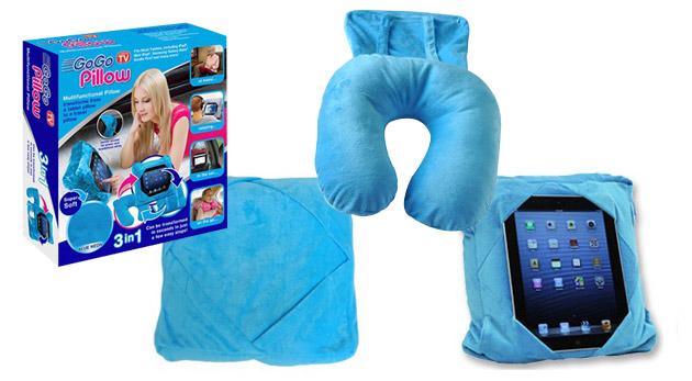 Fotka zľavy: Vytvorte si pohodlie počas cesty pri spaní i pri hraní sa s tabletom vďaka multifunkčnému vankúšu s držiakom tabletu Go go pillow len za 8,49€.