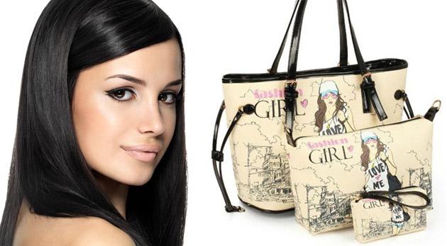 Fotka zľavy: Originálna klasická dámska kabelka s kozmetickou taštičkou a mini kabelkou len za 19,90€ vrátane poštovného a balného. Zaplaťte raz a tešte sa trojnásobne z originálneho doplnku!