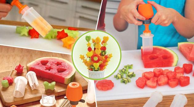 Fotka zľavy: Skvelý vykrajovač na ovocie či zeleninu so 6-timi druhmi nadstavcov v tvare srdca, kolieska, motýľa, hviezdy, kvietku a slniečka len za 8,30€. Pre jedlo chutné aj na pohľad!