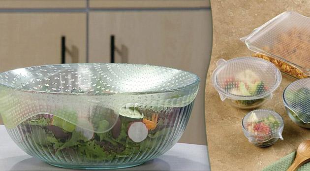 Fotka zľavy: Štyri kusy silikónových znova použiteľných pokrievok rôznych rozmerov za 4,99€ zabezpečia Vašim potravinám ochranu pred vzduchom a vodou.