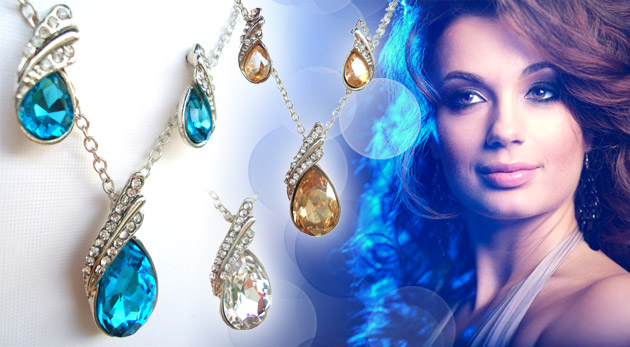 Fotka zľavy: Sada šperkov - náušnice, prívesok a retiazka len za 4,99€ dokonale podčiarkne váš šarm. Elegancia na každú príležitosť!