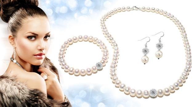 Fotka zľavy: Pravé perly za 37,99€ v bielej farbe s jedinečným leskom dozdobené guličkou so Swarovski Elements - prekrásne šperky pre vašu krásu!