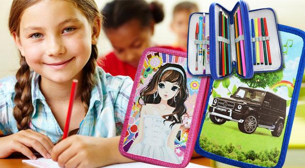 Fotka zľavy: Trojvrstvové peračníky s vybavením s chlapčenským motívom auta alebo dievčenským motívom bábiky len za 4,99€. Vyhnite sa stresu z nakupovania a užite si leto až do konca!