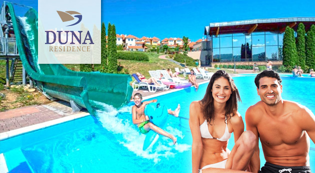 Fotka zľavy: Oddychom nabité 3 dni v 5* Duna Residence v Dunaszentmiklós len za 164€ pre 2 osoby s výbornou polpenziou, wellness a 1 hodinou tenisu. Prázdninový park kúsok od hraníc len 30 minút od Komárna.