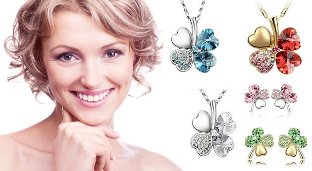 Fotka zľavy: Nevšedný štvorlístkový set šperkov Swarovski elements len za 6,99€ obsahuje náušnice i náhrdelník s príveskom. Tento originálny šperk ozvláštni každú dámu či slečnu.