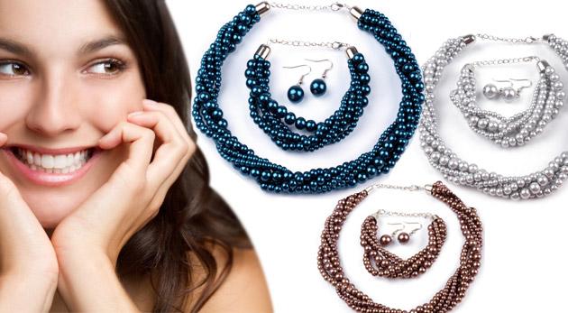 Fotka zľavy: Trojdielna súprava elegantných šperkov z voskovaných perál len za 4,49€. Náhrdelník, náušnice a náramok pre vkusné a moderné doladenie chick outfitu!