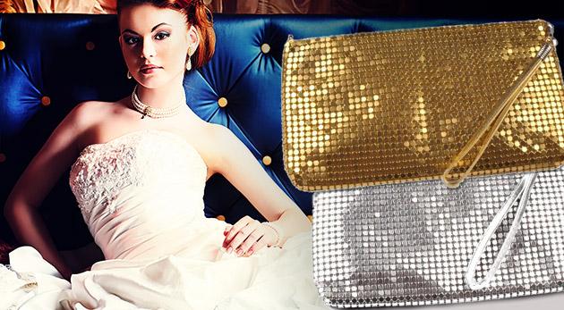 Fotka zľavy: Spoločenská listová kabelka v zlatej, striebornej alebo čiernej farbe len za 7,90€. Okúzlite spoločnosť eleganciou, výraznosťou a jednoduchosťou zároveň!