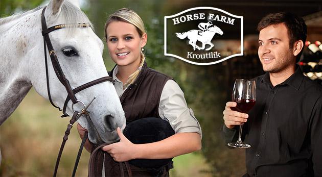 """Fotka zľavy: Oddych s pohárom vína pri pohľade na kone len za 99€ pre dvojicu na Horse Farm pri Znojme. Pobyt na konskej farme s návštevou moravského """"sklípku"""" s degustáciou a neobmedzenou konzumáciou vín."""