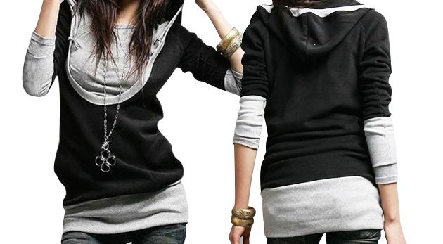 Fotka zľavy: Športová mikina pre dámy originálneho strihu s kapucňou a dlhým rukávom len za 12,90€. Oblečte si váš vlastný štýl!