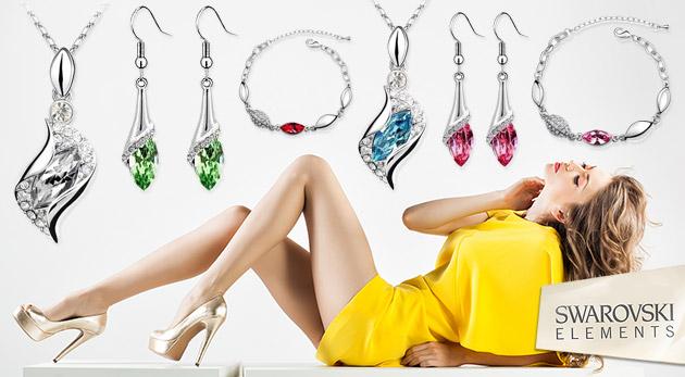 Fotka zľavy: Skvostné šperky s kamienkami Swarovski Elements - náušnice, prívesok, retiazka a náramok len za 7,99€ vrátane poštovného a balného. Staňte sa kráľovnou spoločnosti!