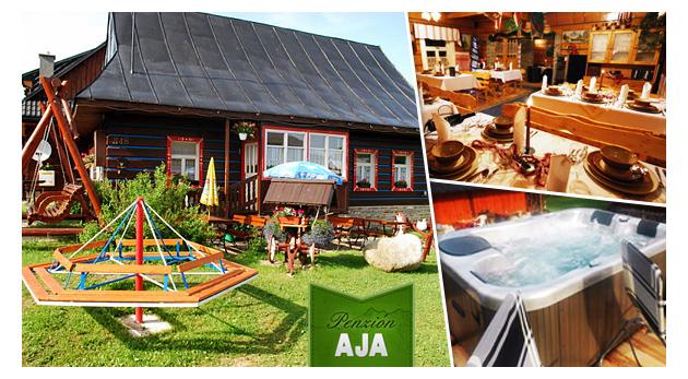 Fotka zľavy: Zažite tú pravú dovolenku v zrubovom Penzióne AJA v Belianskych Tatrách už od 46 €. V cene raňajky, večere a jazda na koči s konským záprahom! Deti do 5 rokov zadarmo.