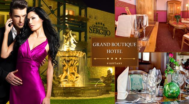 Fotka zľavy: Čarovný romantický večer s vašou polovičkou na vás čaká v Grand Boutique Hoteli Sergijo**** v kúpeľných Piešťanoch len za 65 € vrátane raňajok, slávnostnej večere, neobmedzeného wellness a fitness!