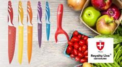 Zľava 40%: Kvalitná sada troch alebo piatich švajčiarskych nožov s antiadhéznym keramickým povrchom už od 11,90 €. Práca v kuchyni nebola nikdy väčším potešením!