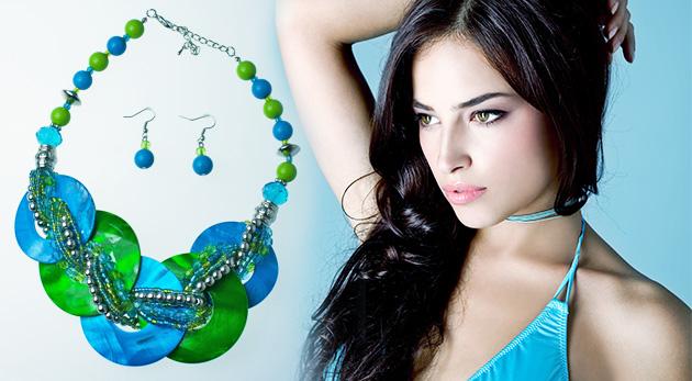 Fotka zľavy: Pestrá sada náhrdelníka s náušnicami len za 8,69 € pre doplnenie vášho letného outfitu. Na výber viacero farebných modelov.