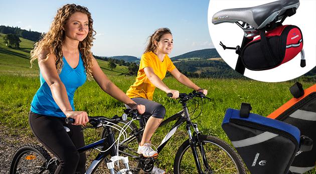 Fotka zľavy: S praktickými taškami na bicykel už od 9,90 € budete mať všetky svoje nevyhnutné drobnosti pri sebe aj počas šliapania do pedálov. Na výber v rôznych tvaroch aj farbách.