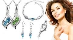 Zľava 52%: Ozdobte sa skvostnými šperkami s kamienkami - náušnice, prívesok, retiazka a náramok len za 8,99 € vrátane poštovného a balného. Staňte sa kráľovnou spoločnosti!