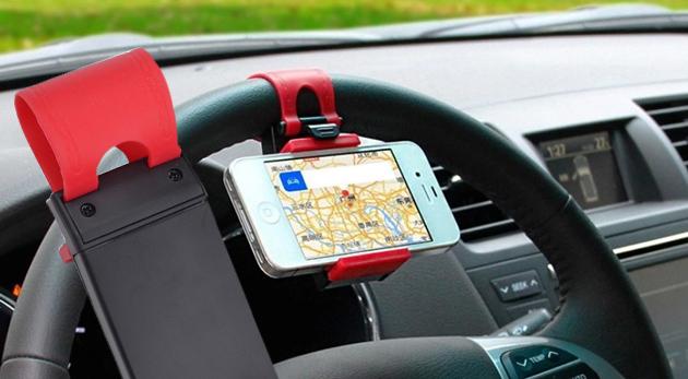Fotka zľavy: Praktický držiak mobilu na volant iba za 6,90 € - nastaviteľná šírka, jednoduchá a rýchla manipulácia pre váš telefón na dosah ruky!