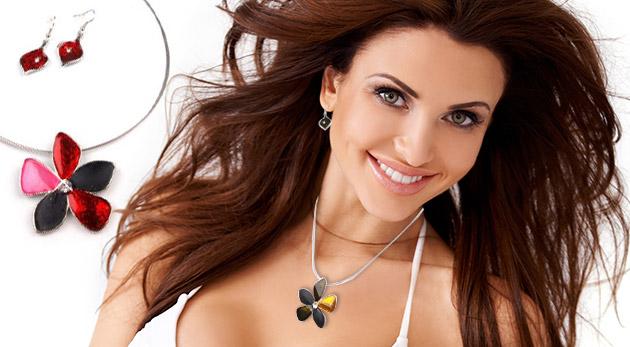 Fotka zľavy: Elegantná sada šperkov - náhrdelník a náušnice s motívom kvetu len za 3,90 €. Ozdobte sa štýlovými doplnkami a vykvitnite do krásy!