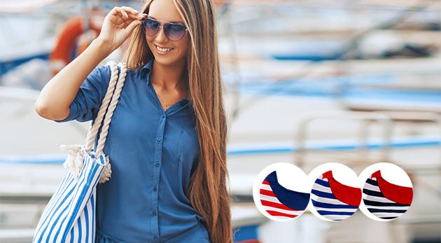 Fotka zľavy: Leto volá po dámskej kabelke v námorníckom štýle len za 7,90 €! Vyrobená je z textilu a môžete ju mať v jednej z troch trendy farieb.