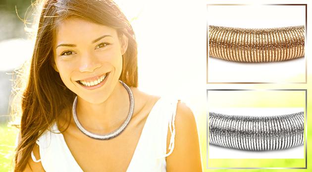 Fotka zľavy: Kvalitný a dizajnový špirálový náhrdelník len za 5,30 € vás toto leto bude dokonale krášliť. Kovové prevedenie v zlatej alebo striebornej farbe s čistými líniami.