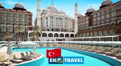 Zľava 48%: Luxusný 8-dňový letecký zájazd na Tureckú riviéru do novootvoreného hotela Royal Taj Mahal***** na pláži len za 659 € s ULTRA ALL INCLUSIVE, letenkou, transfermi, využívaním SPA centra a bazénov!