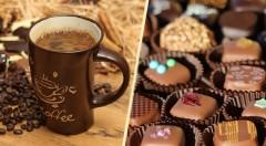 Zľava 40%: Darujte klasiku v zaujímavom šate - čokoládové BIO pralinky alebo exkluzívna zrnková káva už od 4,70 € potešia každého hostiteľa či oslávenca! Plná chuť bez chemických prísad.