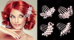 Zľava 39%: Krásny hrebienok do vlasov v zlatom prevedení doplnený perličkami a krištálikmi len za 5,99 €. Rozjasnite svoj účes krásnou ozdobou! Na výber v 5 motívoch.
