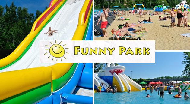 Fotka zľavy: Celodenný vstup do jedinečného nafukovacieho aquaparku Funny Park už od 2,90 € - príďte si s rodinkou užiť slnečný deň plný zábavy a relaxu do kúpeľných Piešťan! Deti do 100 cm zadarmo.
