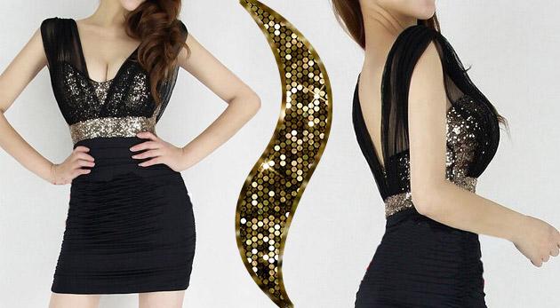Fotka zľavy: Elegantné čierne šaty s krásnym zlatým korzetom s flitrami len za 14,99 €. Vhodné na spoločenskú udalosť i večerné prechádzky letnými ulicami!